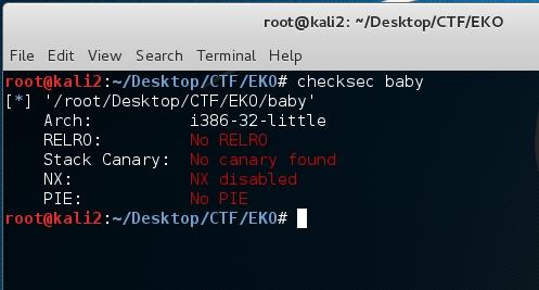 EKOPARTY CTF – Baby pwn – Securifera