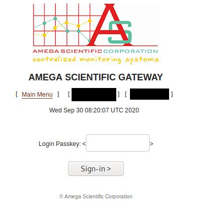 Amega Log In Page
